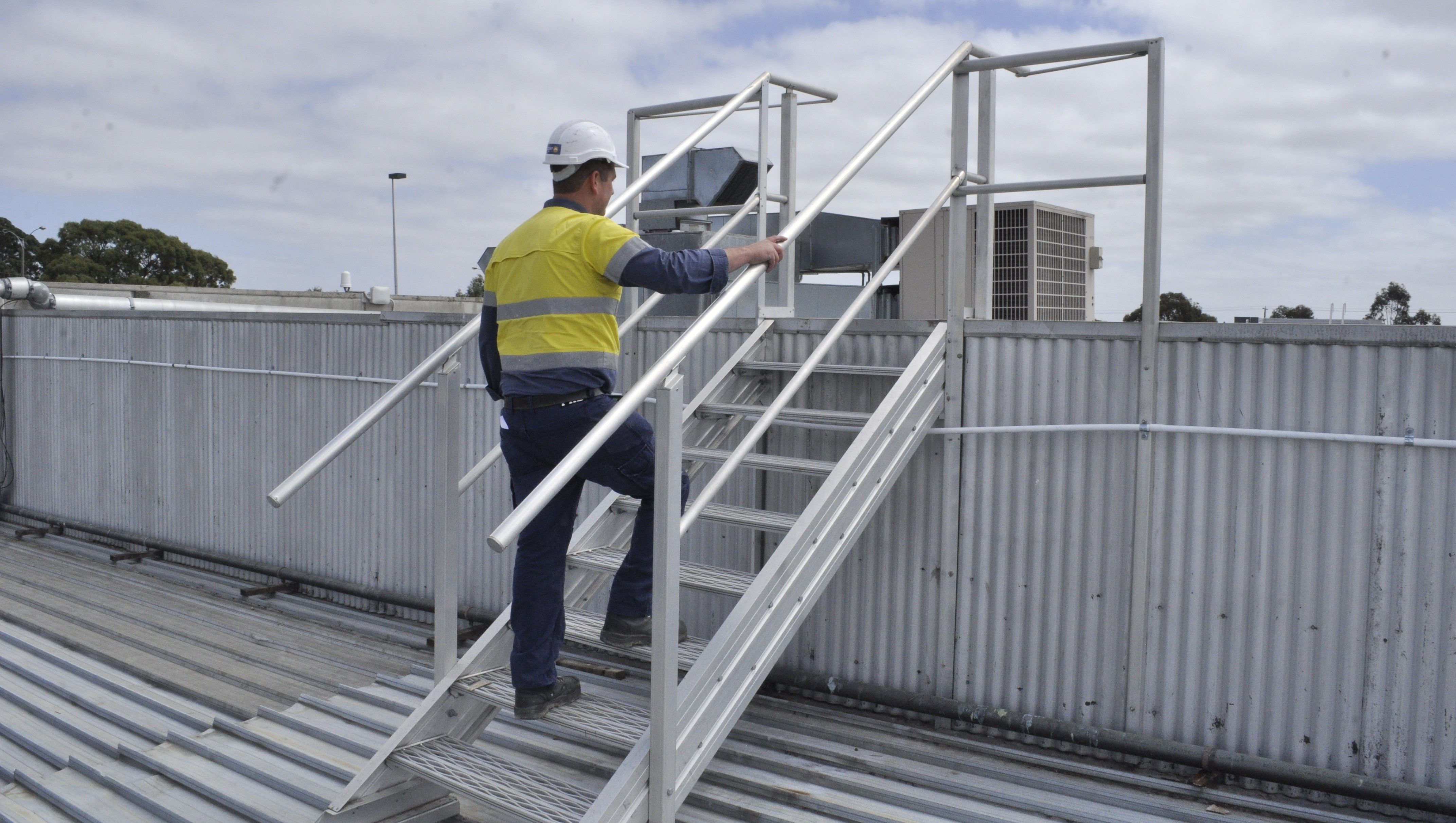 Aluminium Stairway systems with guardrail both sides